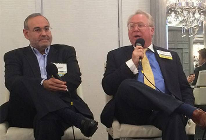 San Francisco-based developer Sonnenblick's principal, Bob Sonnenblick (pictured here with Athens Group COO Jay Newman), launched the discussion of hotel investment and development at Bisnow's 3rd Annual LA Hospitality Boom event last week, discussing capitalization of an $80M hotel his company is developing on USC's medical campus.