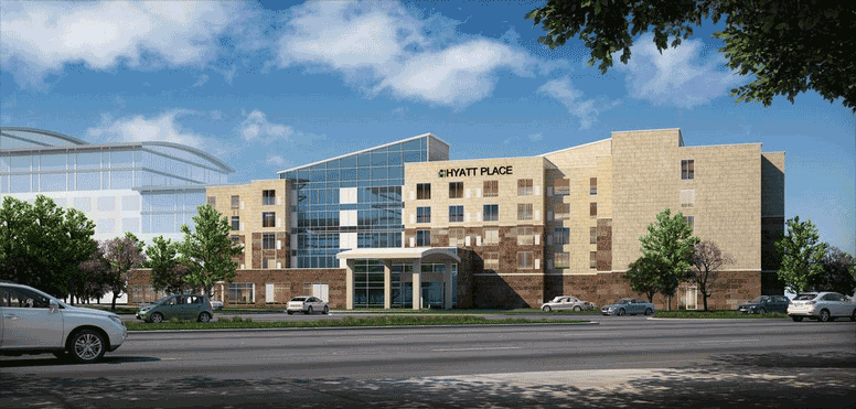 A rendering for a Hyatt Place hotel proposed for Sacramento International Airport, which the developer now wants to expand to add more rooms.