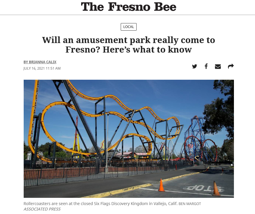 Will an amusement park really come to Fresno? Here's what to know