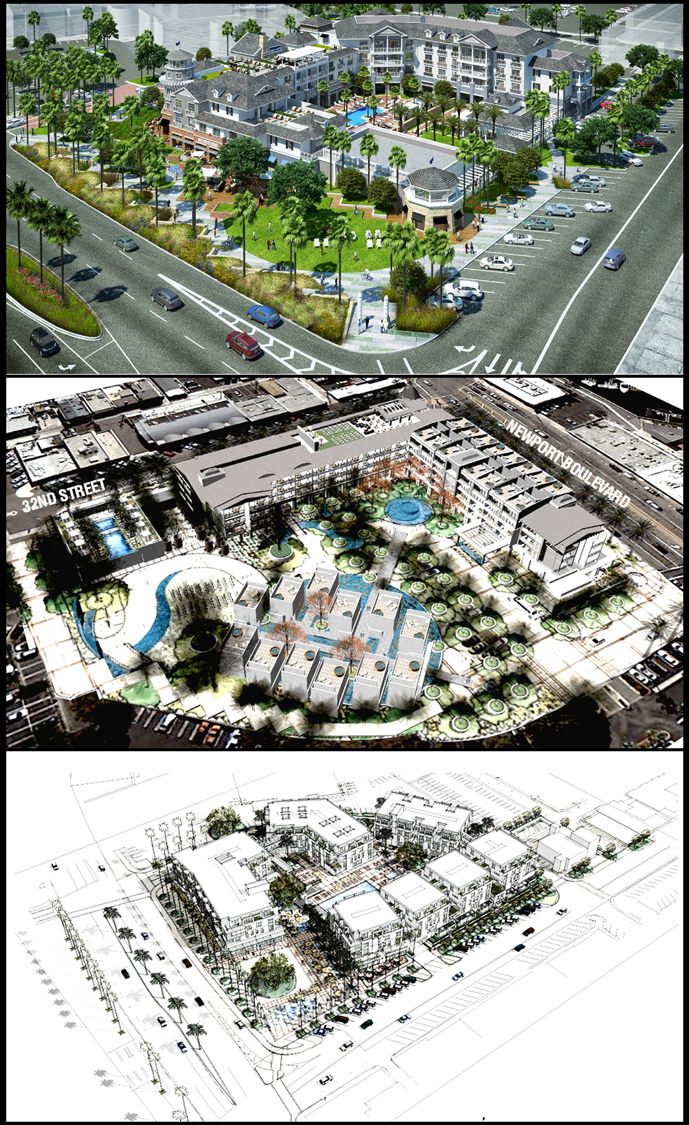 Artist renderings of the projects proposed from (top to bottom) RD Olson Development, Sonnenblick Development, The Shopoff Group.