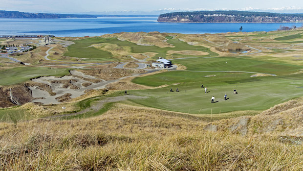 An overview of Chambers Bay Golf Links in University Place, February 26, 2014.  PETER HALEY - Staff photographer: The News Tribune